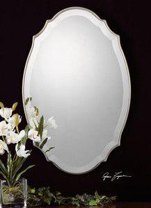 "VENETIAN Frameless Scalloped Edge WALL MIRROR 30"" Silver"