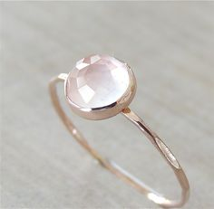 Soft Rose Gold Round Cut Pink Quartz Bezel Ring, Made To Order