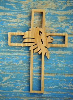 Wooden Wall Cross with Lion by TheArtfulTree on Etsy