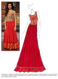 #DIY #DeepikaPadukone #Red #FloorLength #Anarkali