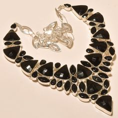 """100% SOLD FACETED BLACK SPINEL NICE - 925 EBAY STORE SILVER JEWELRY NECKLACE 18"""" #Handmade #Choker"""
