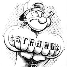 Gangsta Tattoos, Funny Tattoos, Cartoon Art, Cartoon Characters, Popeye Tattoo, Tattoo Drawings, Art Drawings, Popeye And Olive, Character Art