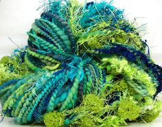 Hand Spun Art Yarn by Kitty Grrlz - Electric Wave - color available for a limited time (Also have a second skein available here: https://www.etsy.com/listing/101202526/handspun-art-yarn-merino-wool-bulky )