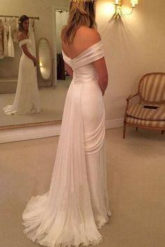 Off Shoulder Side Split Beach Wedding Dresses, 2017 Long Custom Wedding Gowns, Affordable Bridal Dresses, 17114