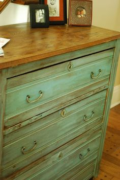 Between Blue and Yellow: Take two annie sloan Provence, and then a dark wax rubbed over it