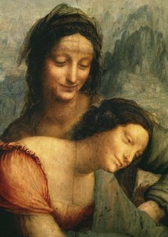 Leonardo da Vinci - The Virgin and Child with St. Anne, detail of the Virgin and St. Anne