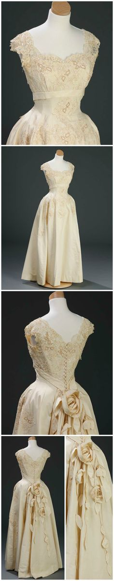 """Debutante dress, by Willie Otey Kay (embellished by Elizabeth Otey Constant), 1962. Worn by Margaret Allen for her 1962 debut at the North Carolina Debutante Ball. Photos courtesy of Mrs. Margaret Allen Rouse, via the online exhibit """"Made Especially for You"""" (madeespeciallyforyou.org)."""