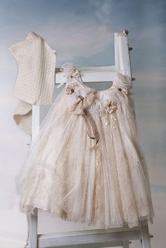 DOLCE bambini Christening Dress Sty.No 159  Christening Dress with one top layer with Ivory Dotted Tulle, another layer of beize lace and two