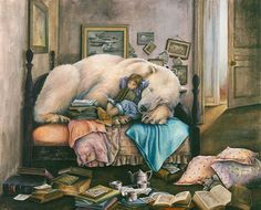 Invitation To A Dream By Artist-Lori Preusch. Whimsical, visionary, fanciful and imaginative artwork. Features children, fairies and wildlife. Pinned from her website. Art And Illustration, Illustrations, Polar Bear Illustration, Painting Gallery, Art Gallery, Bear Card, Dark Material, Fantasy Art, Book Art