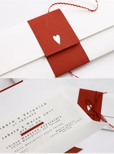 Partecipazione matrimonio bianco e rosso
