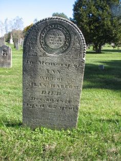 Parted below united above In memory of Ann. Wife of Silas Balcom. DIED Dec. 20th 1871 Aged 67 years. Blessed are the dead who die in the lord.