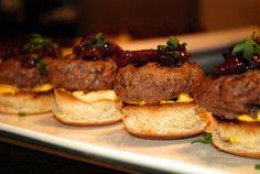 wedding reception food: Chef KK's signature 'Topless  Lamb Slider' with onion jam and cowboy mustard.