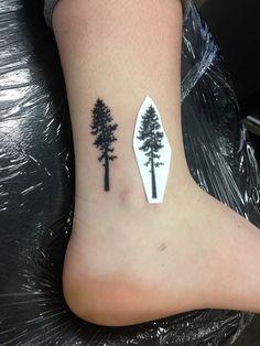 Girlfriends first tattoo! Ponderosa pine tree by Leland at Pigments-Phoenix, AZ