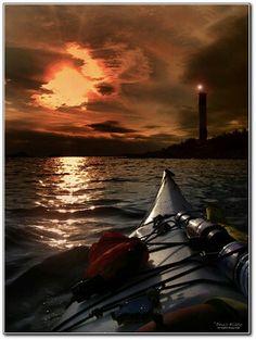 Fierce skies kayaking scene - #kayak #kayaking