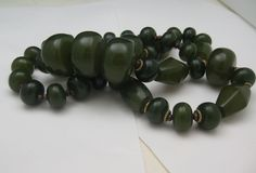 Moss Bakelite Huge Bead Necklace 30 inches from antiquesalad on Ruby Lane