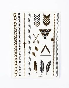 GRANDCRAFT assorted gold and silver faux tattoo designs 6 armbands/bracelets, 10 feathers/chevron #GetYourHolidayOn