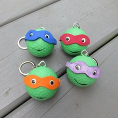 How cool is this??!!     Love it!! Turn old golf balls into Teenage Mutant Ninja Turtles! Use them as keychains, backpack charms, ornaments, etc. Full tutorial. It's easy!