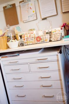 Love the wooden toolbox (from Costco!) in Marcy Penner's studio - its amazing what a little paint can do!