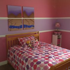 Newly painted bedroom for my 6 year old. Good job Daddy!!