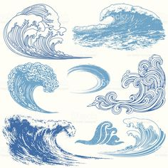 Collection of waves in different techniques. Wave Elements royalty-free wave elements stock vector art & more images of blue Wave Drawing, Doodle Drawing, No Wave, Art And Illustration, Illustration Techniques, Watercolor Illustration, Inspiration Art, Art Inspo, Tattoo Inspiration