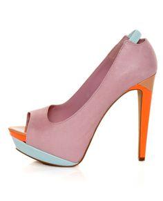 Jessica Simpson Scarletta Miss Piggy Pink Color Block Pumps