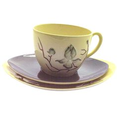 Stunning Yellow Floral Carlton Ware Teacup Trio