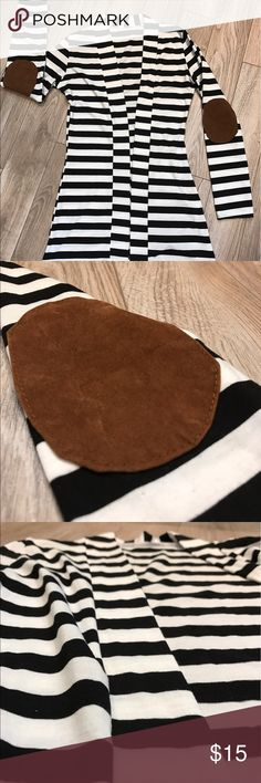 Black & White Striped Cardigan Brown Elbow Patches EUC black and white striped long cardigan with brown elbow patches. Size small Sweaters Cardigans