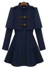 Navy High Neck Long Sleeve Buckle Strap Cloak Coat $83.22