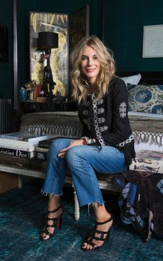Kim Hersov at home in a jacket from her own label, Talitha, jeans by Zara and Alaia sandals British Actresses, Luxury Fashion, Womens Fashion, Bell Bottom Jeans, Cool Outfits, Women Wear, Feminine, Glamour