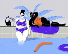 Coyote Atelier illustration love: Laura Breiling draws fabulous women. Fancy gals in shades of blue hang by the pool. Found on It's Nice That.