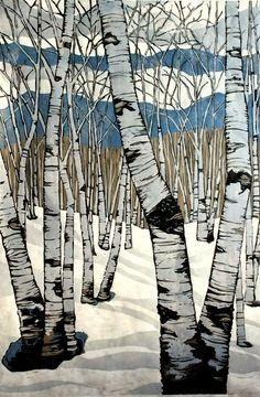 Northern Shadows, large relief woodcut by Lisa VanMeter Art Et Illustration, Illustrations, Art Moderne, Art Plastique, Woodblock Print, Landscape Art, Painting Inspiration, Art Lessons, Graphic Art