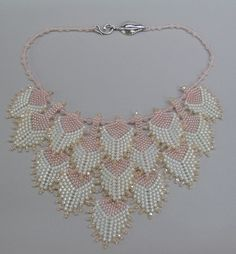 Pink Petals necklace by Sally Shore Bijoux. Peyote stitch.