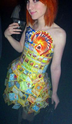 Geeky Dress Made from Pokemon Cards -- and so is this! (looks uncomfortable though...)