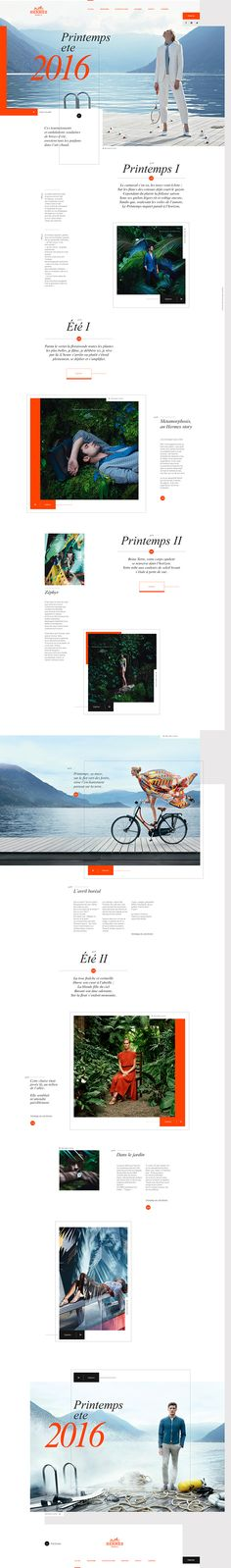 Hermès concept, which I like because of the fresh colours, adequate whitespace use and the classic French serif for the headlines. Homepage Design, Web Ui Design, Website Design Inspiration, Graphic Design Inspiration, Web Layout, Layout Design, Pag Web, Digital Web, Mobile Web Design