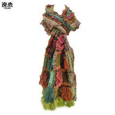 YiLiAN Marca 6 Colores Complicado Bufandas Calientes Del Invierno Nuevas Mujeres de la Llegada Del Bloque Del Color de Punto Bufanda de Piel de Conejo con SF462