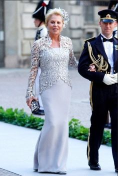 Mother of the Groom Ms Eva Maria O'Neill on the way to board The M/S Stockholm for a boat ride to Drottningholm Palace after the wedding at The Royal Palace Chapel on 8 June 2013 in Stockholm