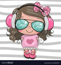 Illustration about Cool Cartoon Cute Girl with sun glasses and headphones. Illustration of kids, hairs, cute - 147763082 Cute Cartoon Girl, Cartoon Kids, Toddler Drawing, Cartoon Mignon, Baby Bumper, Disney Cartoon Characters, Unicorn Pictures, Girl With Sunglasses, Unicorn Art