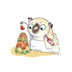 Cherry Pepper on Top - taco pug Animal Paintings, Animal Drawings, Animals And Pets, Cute Animals, Pug Cartoon, Baby Pugs, Pug Art, Funny Pugs, Pug Life