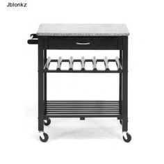 Click Picture To View Item On eBay Rolling-kitchen-Cart-Island-Cutting-Board-Table-Granite-N-Top-Butcher-Block-Wood