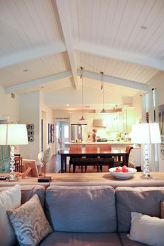 Ranch reno ideas; vaulted, planked ceiling, great room. Living With Kids: Leslie Burket