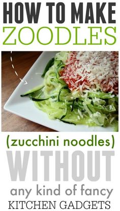 How to make healthy zucchini noodles without any fancy kitchen equipment li… YES! How to make healthy zucchini noodles without any fancy kitchen equipment like a spiralizer! Why didn't I think of this sooner? Making Zucchini Noodles, Zucchini Pasta Recipes, How To Cook Zucchini, Healthy Zucchini, Veggie Noodles, Vegetable Recipes, Recipe Zucchini, Chicken Zucchini, How To Make Zoodles