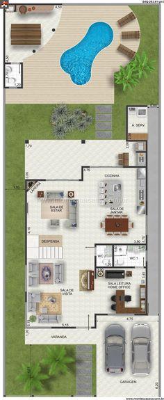 Planta de Sobrado - 4 Quartos - 263.61m² - Monte Sua Casa: