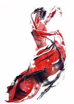Flamenco dancer, monotype graphic 2017