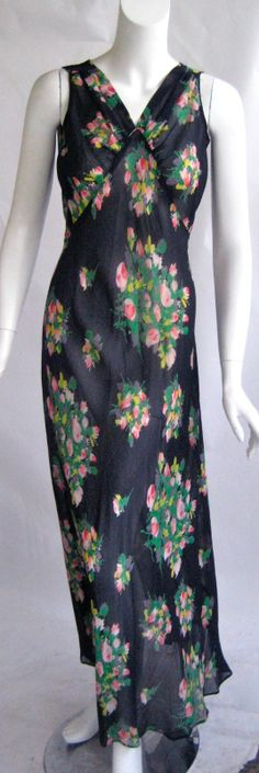 Vintage 1930s Art Deco Bias Cut Silk Chiffon Floral Garden Party Summer Dress (275)