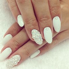 white & pearl nail design