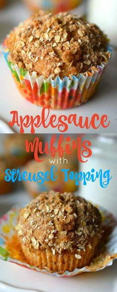 Applesauce Muffins with Streusel Topping ~ A tasty, fussy-kid approved muffin recipe! Loaded with whole grain nutrition! Quick Bread Recipes, Donut Recipes, Fruit Recipes, Muffin Recipes, Sweet Recipes, Healthy Recipes, Healthy Baking, Streusel Topping For Muffins, Eat Breakfast