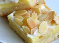 Creamy Almond Bars. I LOVE these! sooo good! making them RIGHT NOW. for reals, Im making them right now. no really, i am. :)