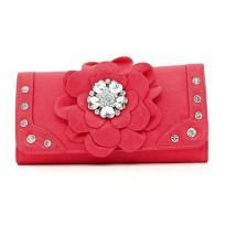 **FREE SHIPPING**NO SLICE**Fashion Flower Patch Tri-fold Wallet w/ Rhinestone Accent - Red