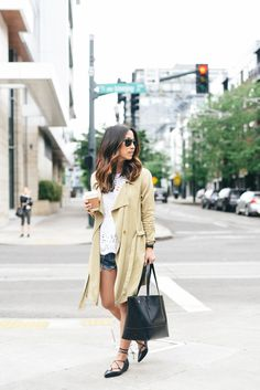 trench + shorts