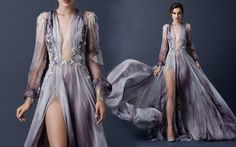 2015 AW Couture | Paolo Sebastian PSAW1512 - Sleeved print gown with plunging neckline and floral embroidery
